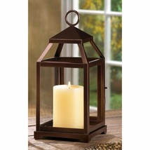 Contemporary Square Candle Lantern Rustic Burnished Bronze Finish Clear ... - $29.45