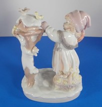 Dolfi Handpainted Porcelain Figurine GIRL AT BIRDHOUSE Made in Italy Lis... - $29.65