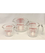 Vintage Pyrex glass measuring cups set of 3 small medium and large red g... - $22.00