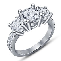Three Stone Women's Engagement Ring In Diamond White Gold Plated Pure 92... - $74.99