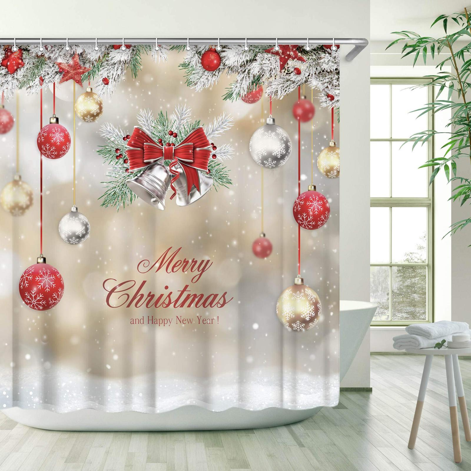 Primary image for Stacy Fay Xmas Shower Curtain, Merry Christmas Shower Curtains Set with 12 Hooks