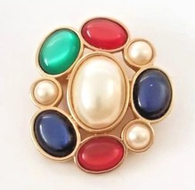 VTG Avon Jeweled Classic Collection Colorful Cabochon Brooch Pin Red Blu... - $18.76