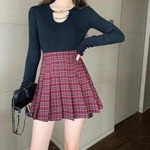 Women Girl Red Plaid Skirt Outfit High Waisted Pleated Red Plaid Skirt Plus Size image 7