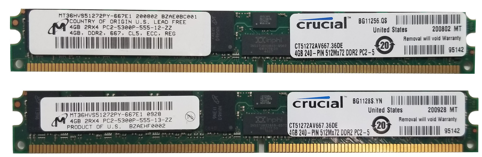 Micron 4GB DDR2 ECC REG RAM MT36HVS51272PY-667E1 (LOT OF 2) Bin:6