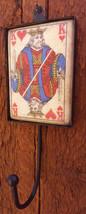 "Distressed Playing Card Wall Hook Hanger King Hearts-Tile w Metal Hook-9"" Total - $14.01"
