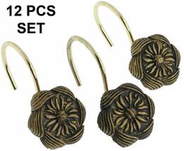Carnation Auburn Ceramic Resin Shower Curtain Hook,Antique Gold 12pcs, P... - $21.77