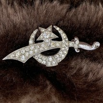 Vintage Shriner Sword Brooch Rhinestone Silver Tone Metal Crescent Moon ... - $19.75