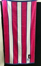 Polo Ralph Lauren Oversize pink blue white striped Beach Towel blue pony... - $49.49