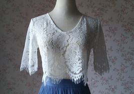 White Lace Crop Top Bridesmaid Separates Lace Top Crop Sleeve Custom Plus Size image 4