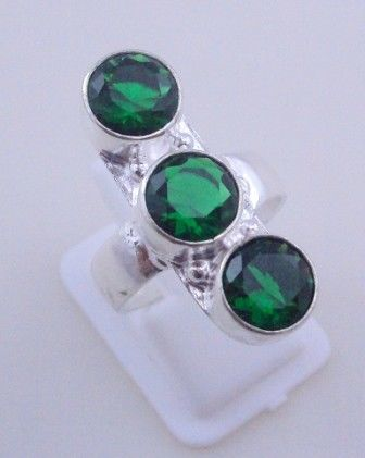 Primary image for 7 Gr Diopside Stone Silver Overlay Handmade Jewelry Ring Size 7.5