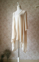 Summer Tencel Linen Open Blouse Loose Long Crop Sleeve Cover Up Plus Size NWT image 4