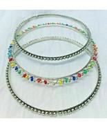 Set of 3 Slip On Bangles Bracelet Silvertone & Multi-Colored Fashion Jew... - $9.89