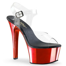 "PLEASER 6"" Heel Comfortable Red Chrome Platform Stripper Ankle Strap Shoes - $52.95"