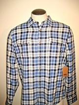 Vans Mens Sycamore button front flannel shirt Blue White Plaid NWT Ships Free - $29.59