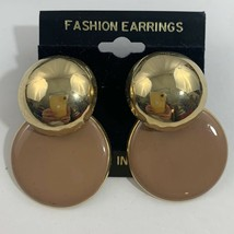 Vintage Funky Chunky Dangle Earrings Pierced Beige Shiny Gold Tone New W... - $11.10