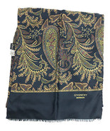 Vintage GIVENCHY Oblong Paisley Blue 100% Silk Scarf & 100% Wool Lining ... - $54.40