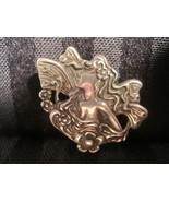 Art Nouveau Repoussé Art Deco Sterling Silver Victorian Fairy Goddess Pi... - $233.75