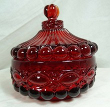 Eye Winker Covered Candy Dish Ruby Red Glass Mosser Glass - $37.39