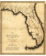 "1823 First Map of Florida by Charles Vignoles 17""x20.5"" Gulf of Mexico State Art - $16.34"