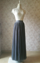 DARK GRAY Maxi Tulle Skirt For Wedding Dark Grey Wedding Bridesmaid Skirt,wd398 image 3