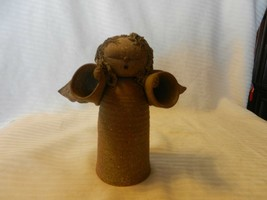 """Hand Made Brown Clay Angel With Wings Figurine 6.5"""" Tall - $29.70"""
