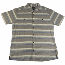Patagonia Organic Cotton Button Down Shirt Mens XL Gray Striped Short Sl... - $18.69