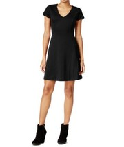 Maison Jules Womens Fit N Flare Short Sleeve V-Neck Dress XXS Black $69 - $15.00