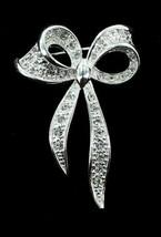 "Vintage Napier Pave Crystal Rhinestones Ribbon Silver Tone Brooch Pin Pretty 2"" - $44.98"