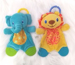 Elephant & Lion  Baby Lovey Teether Bright Starts Security Blanket Toy B201 - $9.99