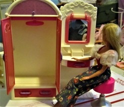 Doll House Closet with dressing Table and Chair & One Doll - $24.00