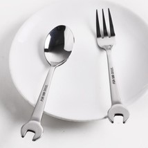 Wrench Shape Dining Fork Spoon Salad Stainless Steel Creative Spanner Ta... - $4.49