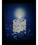 White Candle on Blue Vintage Christmas Card BOGO Sale  - $5.00