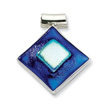 Primary image for Lex & Lu Sterling Silver Blue Dichroic Glass Square Shaped Pendant