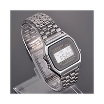 Amyove Silver Large LED LCD Digital Vintage Stainless Steel Band Retro W... - $7.12