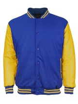 Men's Snap Button Letterman Varsity Jacket Blue Yellow 3XL New /w Defect