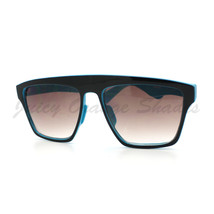 New Unisex Sunglasses Square Arched Top Robot Frame 2-Tone BLACK BLUE - $6.88