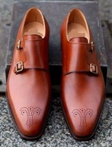 Handmade Men's Brown Heart Medallion Double Monk Strap Leather Shoes image 4