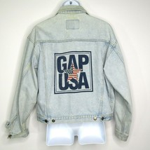 Vintage Gap Denim Men's Trucker Jacket Spellout GAP USA Flag Star 80s 90... - $46.21