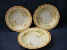 "3 Vintage Handpainted Japan 5 3/8"" Fruit Bowls Orange Scroll Flowers Gold - $14.95"