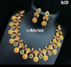 Artificial Bollywood Style Partywear Designer Fashion Necklace Set kY534 - $57.30