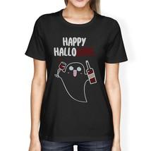 Happy Hallowine Ghost Wine Womens Black Shirt - $14.99+