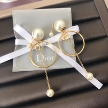 Authentic Christian Dior 2019 Tribales Double Pearl Dangle Drop Long EARRINGS image 6