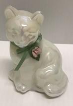 ❤️fenton Glass Iridescent Pearly Sentiments Pink Rose Green Ribbon Sitting Cat❤️ - $38.00