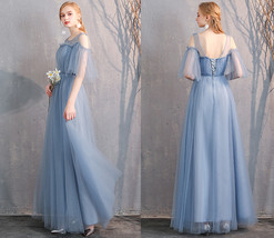 Maxi Bridesmaid Dress Tulle Bridesmaid Dresses with Sleeves Dusty Blue Burgundy image 8