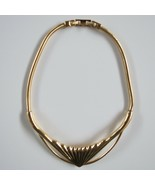 Vintage Monet Collar Necklace Gold metal choker Wide bold 19 in - $74.24