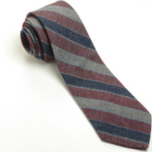 NEW WEMBLEY 54L Navy Blue Gray Burgundy Woven Striped Wool Blend Mens Ne... - $69.29