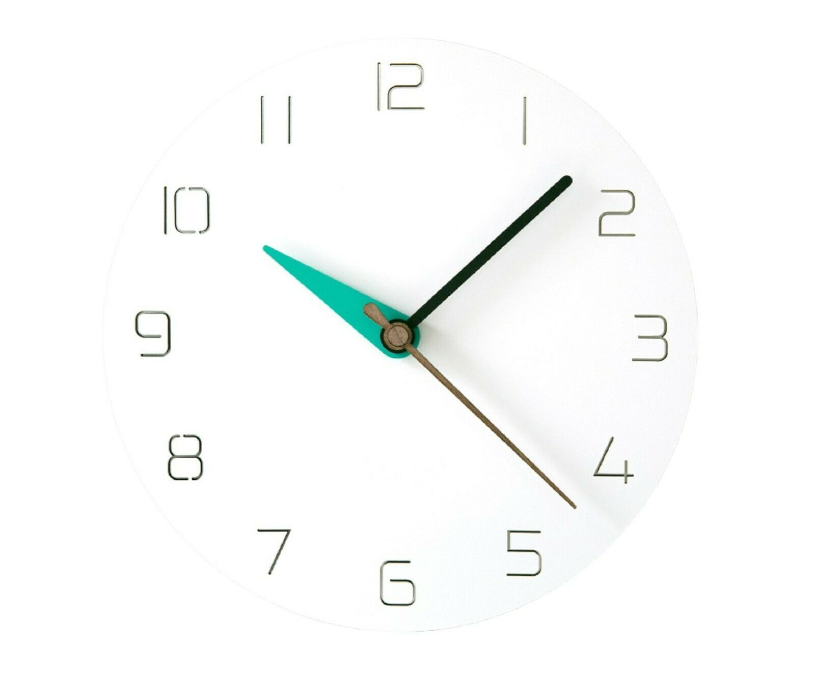 Moro Design 3 Color Hands Wall Clock non Ticking Silent Clock (Classic Mint)