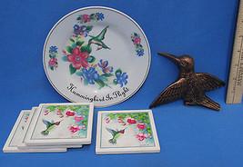 Hummingbird Ashton Hall Collector Plate & Wall Hanging & Tile Coasters L... - $15.04