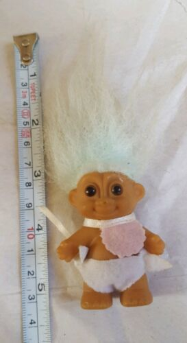 Primary image for Troll Doll By Russ! Blue Hair Brown Eyes! Standing Baby pre-owned doll toy cute