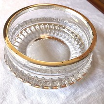 VTG Mid-Century heavy Cut Clear Crystal round bowl silver plate metal rim - $35.64